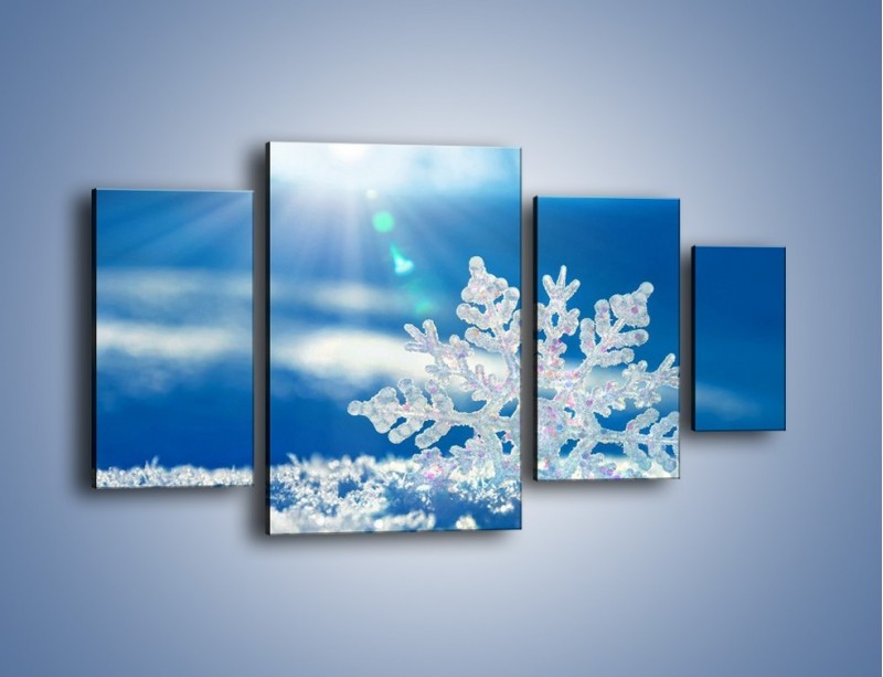 Obraz na płótnie – Diamentowa śnieżynka – czteroczęściowy KN808W4