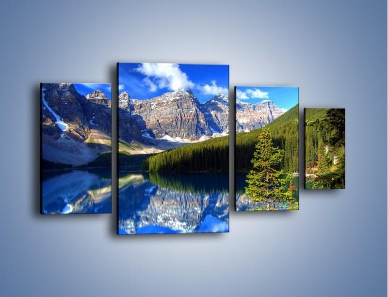 Obraz na płótnie – Góry i ich wodne odbicie – czteroczęściowy KN839W4