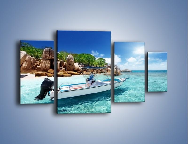 Obraz na płótnie – Błękit w wodzie i niebie – czteroczęściowy KN852W4