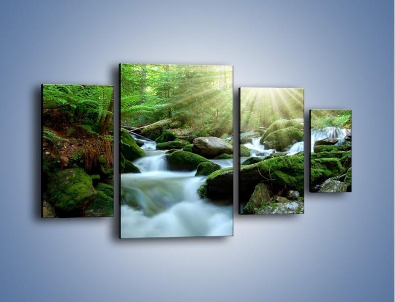 Obraz na płótnie – Silny potok w środku lasu – czteroczęściowy KN861W4