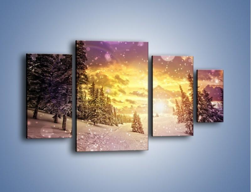 Obraz na płótnie – Śnieżna kraina – czteroczęściowy KN868W4