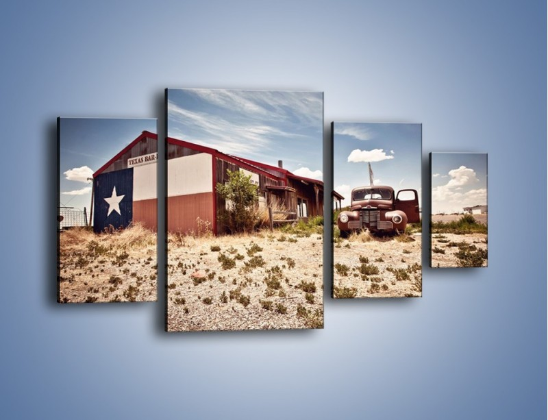 Obraz na płótnie – Autem przez texas – czteroczęściowy KN874W4