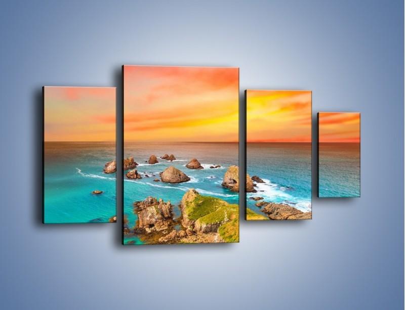 Obraz na płótnie – Kolory rozpalonego nieba nad wodą – czteroczęściowy KN879W4