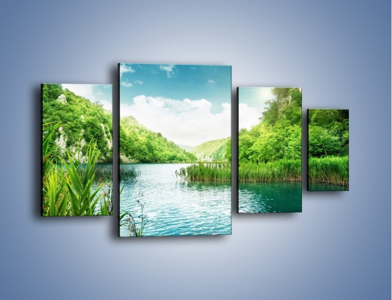 Obraz na płótnie – Wodnym śladem wśród zieleni – czteroczęściowy KN884W4
