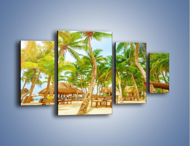 Obraz na płótnie – Słoneczna sjesta pod palmami – czteroczęściowy KN886W4