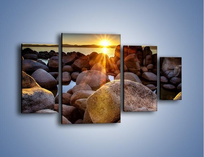 Obraz na płótnie – Kamienna wyspa w słońcu – czteroczęściowy KN888W4