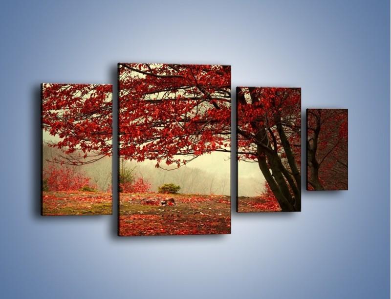 Obraz na płótnie – Spadające liście z drzew – czteroczęściowy KN910W4