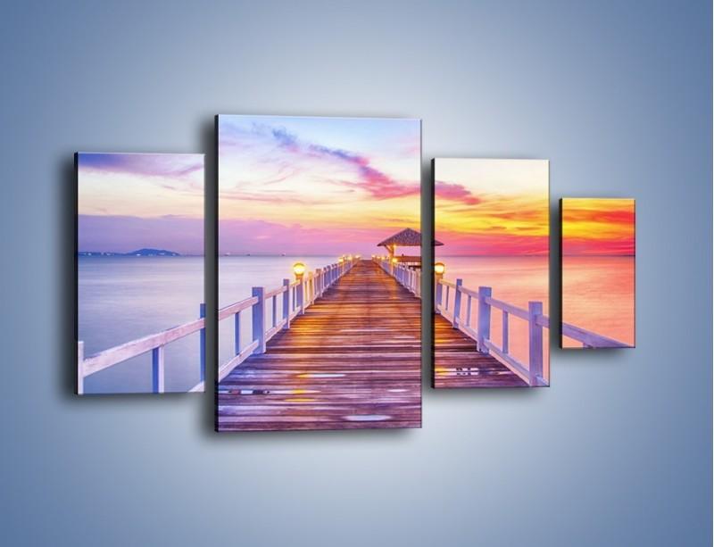 Obraz na płótnie – Spokojnym krokiem po moście – czteroczęściowy KN918W4