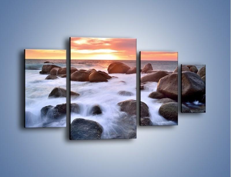 Obraz na płótnie – Kamienie zatopione w morzu – czteroczęściowy KN930W4
