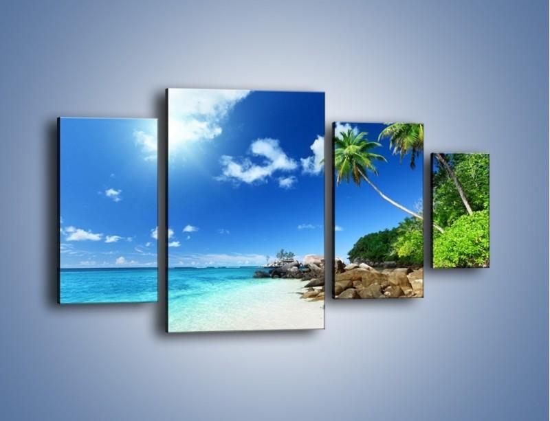 Obraz na płótnie – Rajska plaża i jej piękno – czteroczęściowy KN963W4