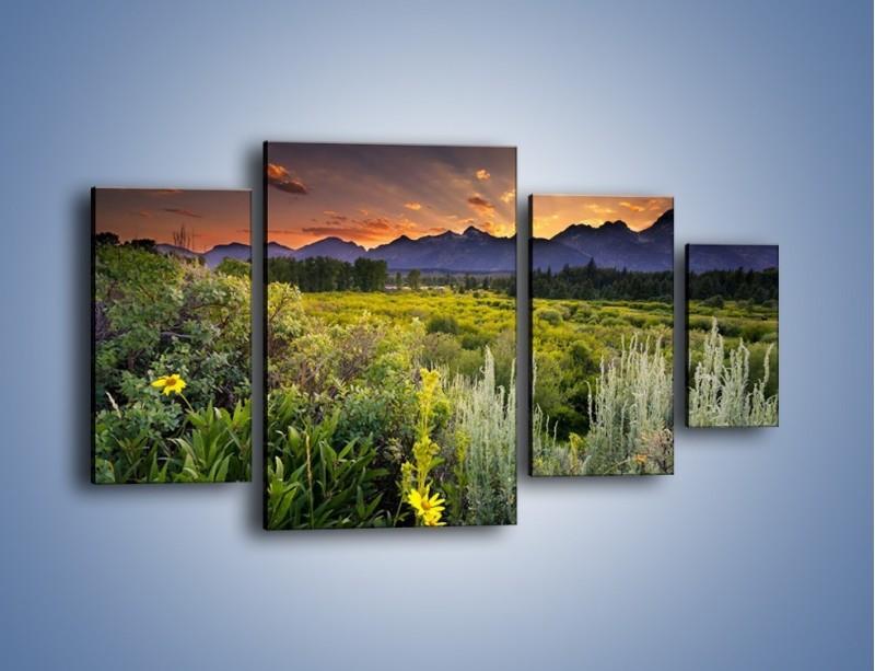 Obraz na płótnie – Wieczorny spokój na polanie – czteroczęściowy KN987W4