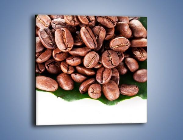 Obraz na płótnie – Ziarna kawy na liściu – jednoczęściowy kwadratowy JN419