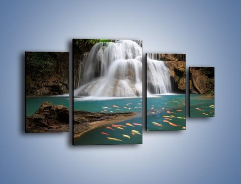 Obraz na płótnie – Wodospad i kolorowe rybki – czteroczęściowy KN994W4
