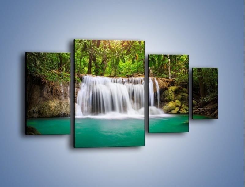 Obraz na płótnie – Kąpiel w środku lasu – czteroczęściowy KN995W4