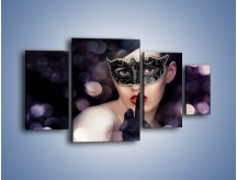 Obraz na płótnie – Dziewczyna w czarnej masce – czteroczęściowy L030W4