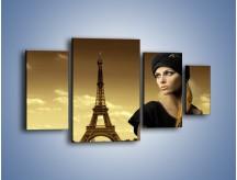 Obraz na płótnie – Czarna dama w paryżu – czteroczęściowy L114W4