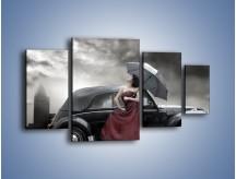 Obraz na płótnie – Dama pod parasolem – czteroczęściowy L139W4
