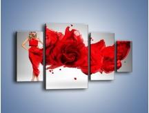 Obraz na płótnie – Czerwona róża i kobieta – czteroczęściowy L144W4