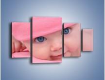 Obraz na płótnie – Bobas w różowej czapeczce – czteroczęściowy L256W4