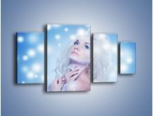 Obraz na płótnie – Biała dama i światełka – czteroczęściowy L318W4