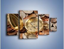 Obraz na płótnie – Kompas zatopiony w monetach – czteroczęściowy O089W4