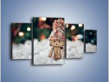 Obraz na płótnie – Mały ludek zimową porą – czteroczęściowy O166W4