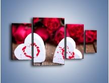 Obraz na płótnie – Dwa idealnie pasujące serca – czteroczęściowy O211W4