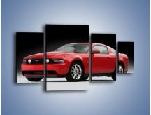 Obraz na płótnie – Czerwony Ford Mustang GT – czteroczęściowy TM052W4