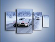 Obraz na płótnie – Bugatti Veyron w śniegu – czteroczęściowy TM134W4