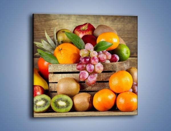 Obraz na płótnie – Skrzynia wypełniona owocami – jednoczęściowy kwadratowy JN424