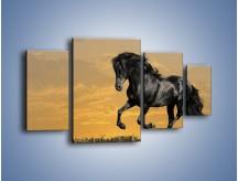 Obraz na płótnie – Bieg z koniem po polanie – czteroczęściowy Z057W4