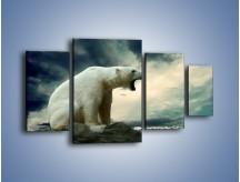Obraz na płótnie – Donośny krzyk polarnego niedźwiedzia – czteroczęściowy Z114W4