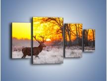 Obraz na płótnie – Jeleń o zachodzie słońca – czteroczęściowy Z164W4