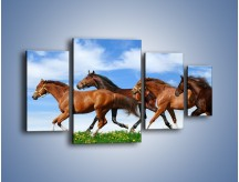 Obraz na płótnie – Galopujące stado brązowych koni – czteroczęściowy Z172W4