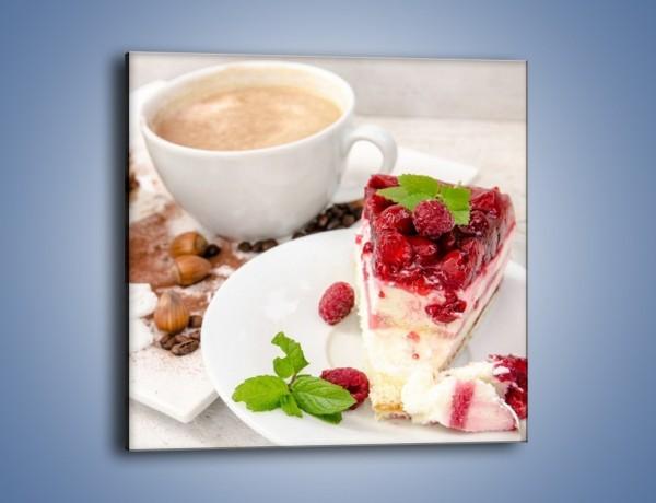 Obraz na płótnie – Owocowy sernik do kawy – jednoczęściowy kwadratowy JN425