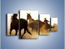 Obraz na płótnie – Cowboy wśród koni – czteroczęściowy Z206W4