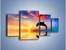 Obraz na płótnie – Delfin i jego odbicie – czteroczęściowy Z268W4