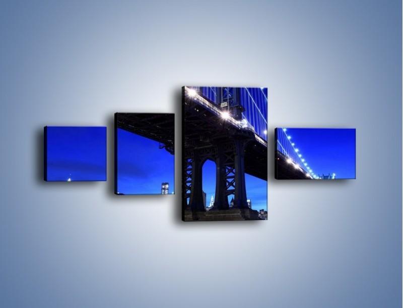 Obraz na płótnie – Oświetlony most wieczorem – czteroczęściowy AM003W5