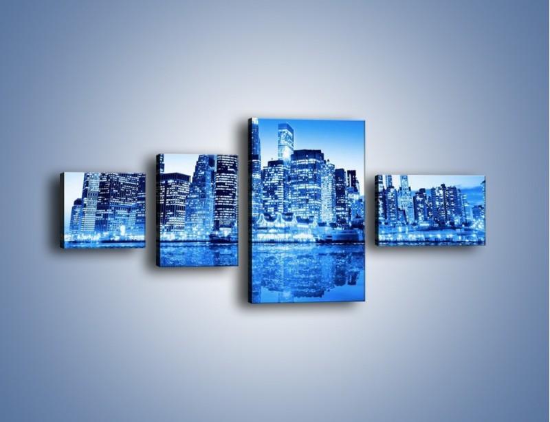 Obraz na płótnie – Odbicie miasta w tafli wody – czteroczęściowy AM004W5