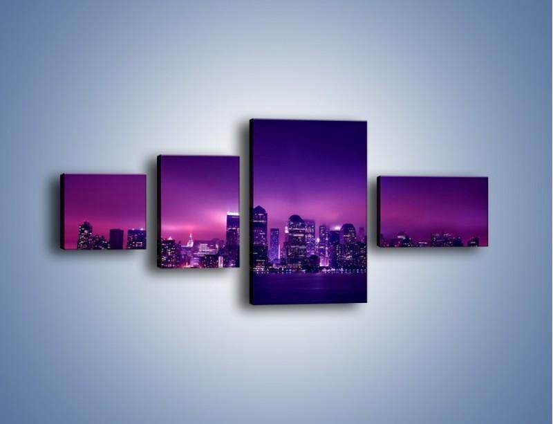 Obraz na płótnie – Wieżowce w odcieniach fioletu – czteroczęściowy AM008W5