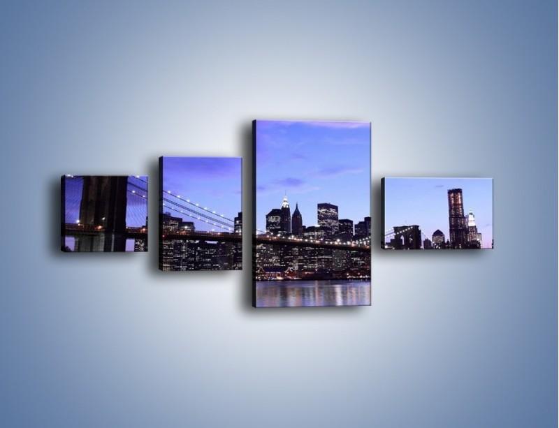 Obraz na płótnie – Most Brookliński przed zmierzchem – czteroczęściowy AM016W5