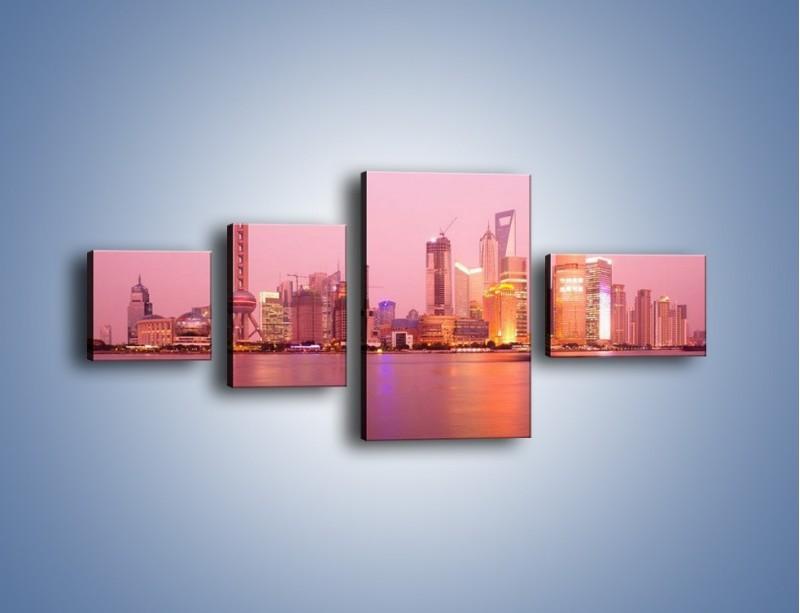 Obraz na płótnie – Miasto o poranku w odcieniach różu – czteroczęściowy AM020W5