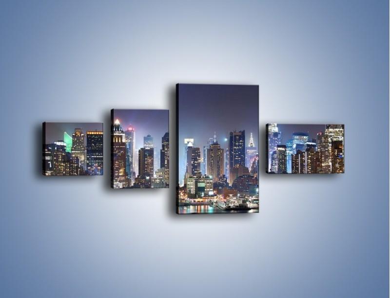 Obraz na płótnie – Oświetlone miasto nocą – czteroczęściowy AM034W5