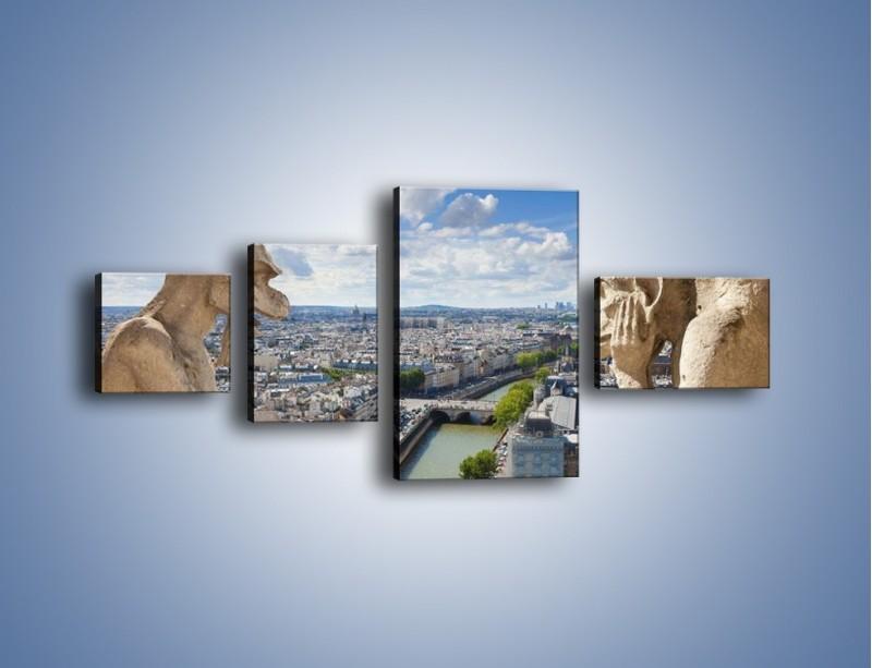 Obraz na płótnie – Kamienne gargulce nad Paryżem – czteroczęściowy AM037W5