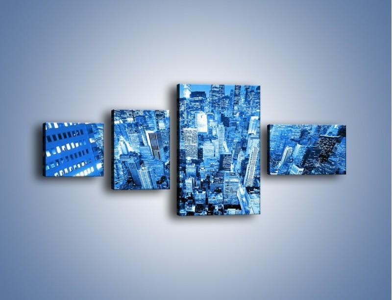 Obraz na płótnie – Centrum miasta w niebieskich kolorach – czteroczęściowy AM042W5