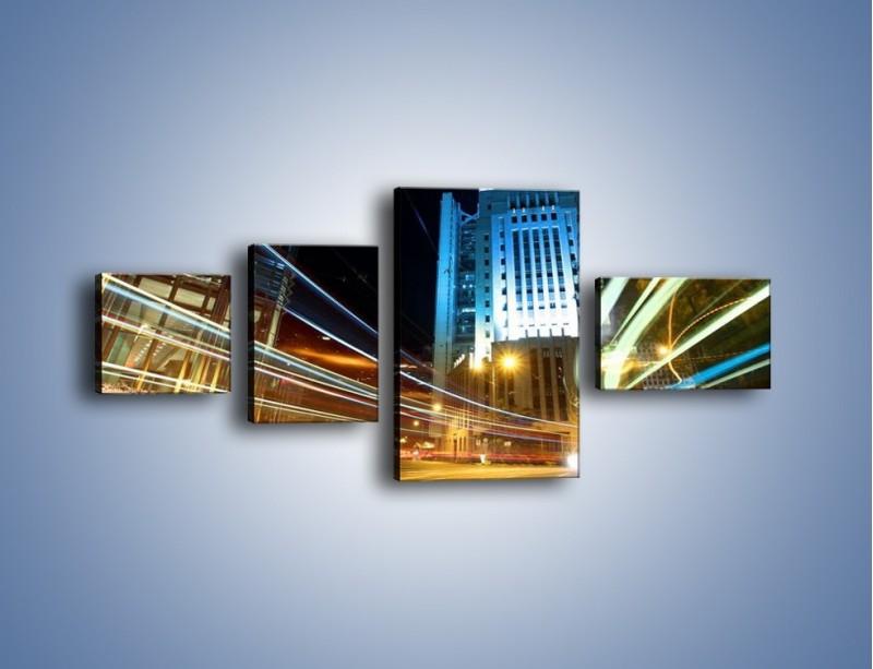 Obraz na płótnie – Światła w ruchu ulicznym – czteroczęściowy AM048W5