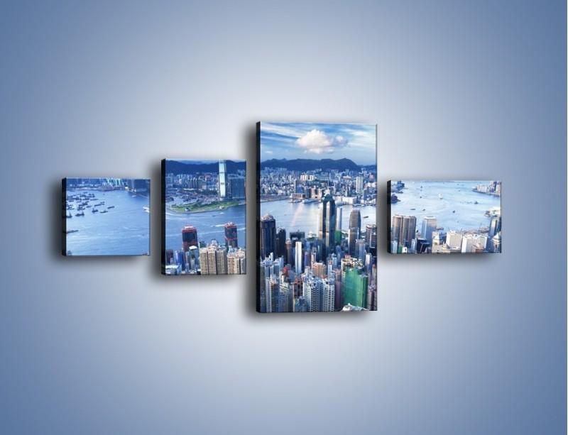 Obraz na płótnie – Miasto portowe o poranku – czteroczęściowy AM050W5