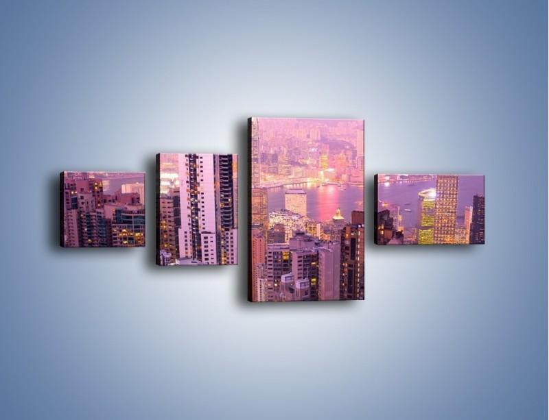 Obraz na płótnie – Duże miasto budzące się o poranku do życia – czteroczęściowy AM062W5