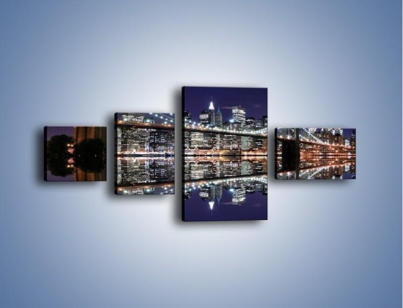 Obraz na płótnie – Most Brookliński w lustrzanym odbiciu wody – czteroczęściowy AM067W5