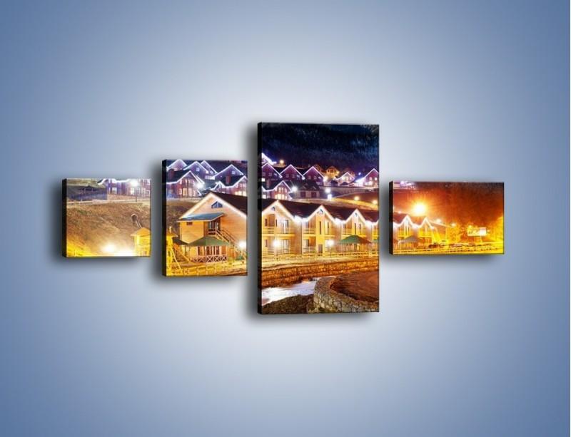 Obraz na płótnie – Oświetlone domki pod górami – czteroczęściowy AM070W5